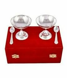 Silver Plated Brass Ice Cream Bowl Set 4 Pcs. (Bowl 3.5x3.5 Diameter)