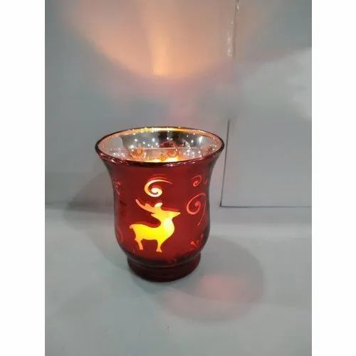 6 Inch Red Decorative Candle Lamp, For Decoration, 3 W