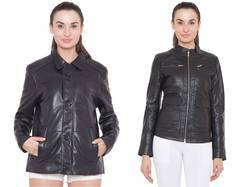Black Trendy Leather Jacket - Women
