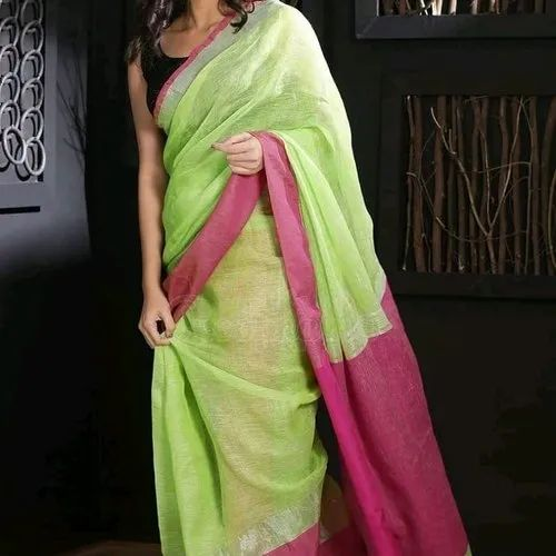 Silk Linen Saree, 6.3 m (With Blouse Piece)
