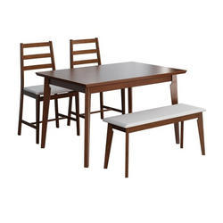 Brown Wooden Four Seater Dinning Table Set