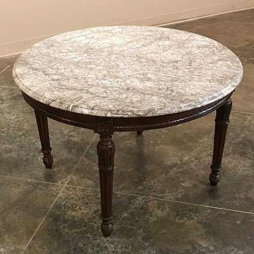 Teak Wood Marble Top Coffee Table, Marble Top Table Round