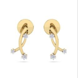 Perrian New Design Trachelium Earring 18k Yellow Gold Brilliant Cut Round Diamond  For Women