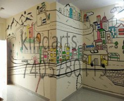 Cartoon Preschool Wall Painting