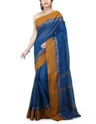 Bengali Tant Cotton Handloom Saree, Length: 5.5 m with Separate Blouse Piece
