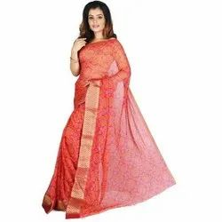 Festive and Party Wear Ladies Red Printed Chiffon Bandhani Saree, 6.4 m (with blouse piece)