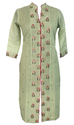 Lavanya Rayon Chanderi Green Colour Floral Buta Path Front Open Kurti