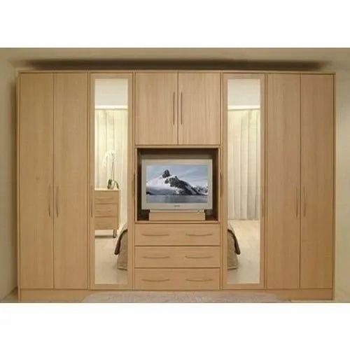 Wooden Bedroom Wardrobe With Tv Unit