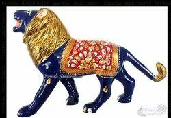 Metal Lion Meena Work Statue