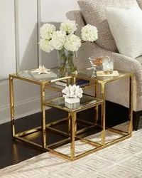 Gaur Steels Stainless Steel PVD Coated Side Table, For Indoor