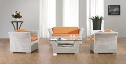 White Rattan Sofa Set