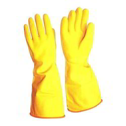 PVC Yellow Unsupported Hand Gloves