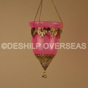 Glass Deshilp T- Light Hanging With Mattel Fitting, Shape: Cage Shaped, Size/dimension: Height = 15 Cm, 10 Cm