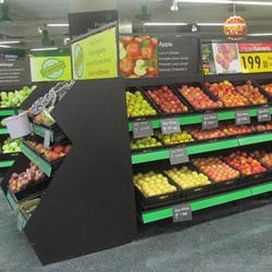 Inclined Fruits & Vegetable with Weighing Scale Counters and Packaging