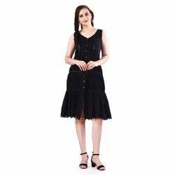 Cotton Women Black Pintuck Midi Dress
