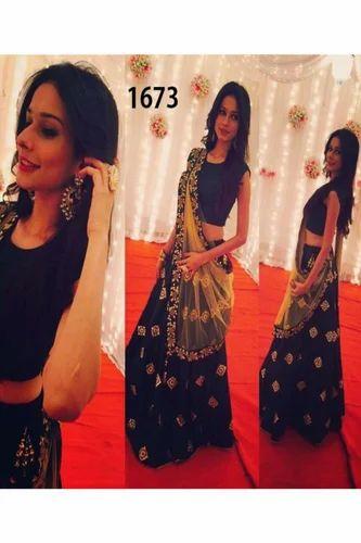 09f600c00af8 Semi-Stitched Semi-Stitched New Bollywood Designer Embroidered Blue ...