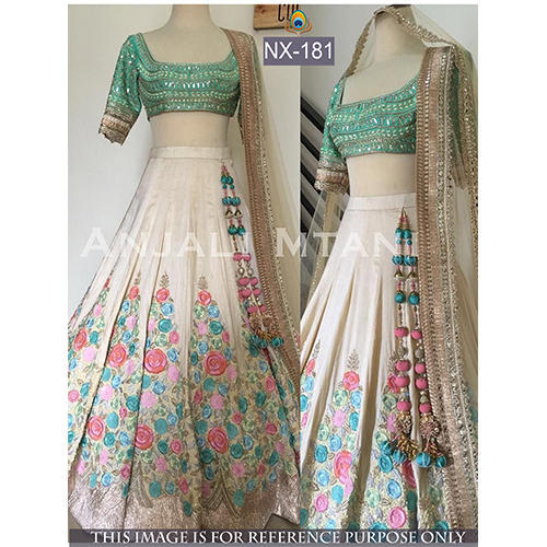 4e16324021 Cream Colored Banglori Silk Thread Work Lehenga Choli at Rs 2150 ...