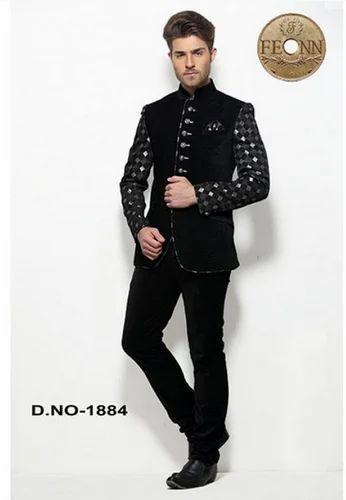 8354fc1c22 Black Terry Rayon Plain Men Jodhpuri Coat Suit - Fashion Icon ...