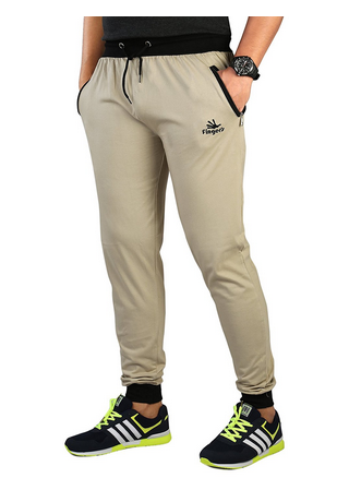 426d03306cfe Cotton Track Pants With Zipper Pockets (Biscuit-Black) at Rs 499 ...
