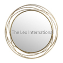 Golden Home Accent Metal Mirror For Wall Decor, Shape: Round