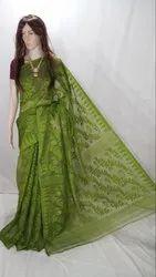 Party Wear Tetul Pata Printed Soft Jamdani Saree, With Blouse Piece, 5.5 m (separate blouse piece)