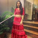 Designer Maroon Three Layers Crop Top Lehenga
