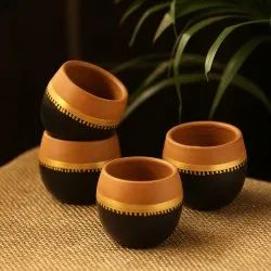 Exclusive Lane ''Terra-Sips'' Hand-Painted Kullads In Earthen Terracotta (Set Of 4)
