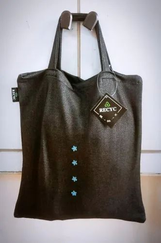 Casual Wear Black Denim Tote Carry Bag