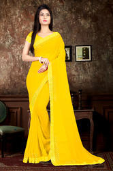 Riva Enterprise Women's Georgette Hot Flix Border Work Yellow Color Saree