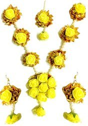 Yellow Flower Gota Patti Jewelry Set