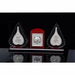 Silver Laxmi Ganesha Frame Stand