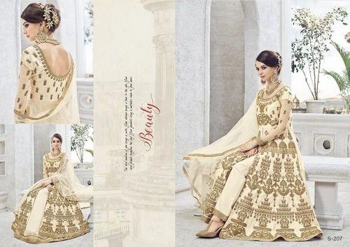 Off White Silk Pakistani Style Designer Salwar Kameez Shopping Rs