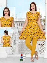 Yellow Printed Sleeveless A Line Kurti