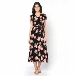 Crepe Ladies Printed Designer Dress