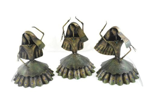 Indian Handmade Iron Painted Ghongro Design Candle Holder Set Of 4 T-Light Home Decor