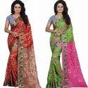 Jacquard Silk Resham Embroidery Batik Bandhani Saree, Length: 5.3 M