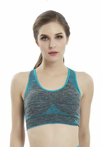 5b87dccbc1168 Light Blue Color 82 % Polyester   18 % Spandex Ladies Sport Bra