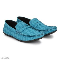Casual Blue Trendy synthetic Leather men's shoes