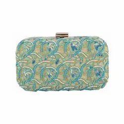 Azzra Designer Pink Zardosi Work Clutch Handbag