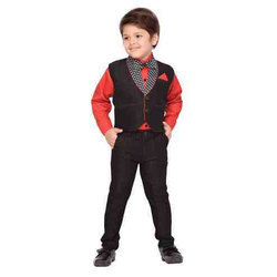 Black Raw Silk Party Wear Suit Set For Boys