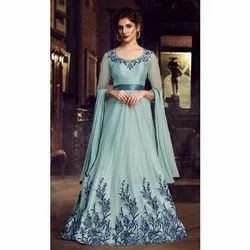 Party Wear Semi Stitch Ladies Georgette Embroidered Gown, Size: S,M And L