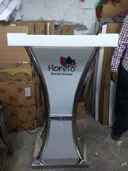 Acrylic & Stainless Steel Lectern with Engraved Digital Logo.