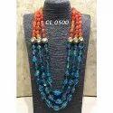 Cl Code Statement Fashion Jewellery Semi Precious Tourmaline Agate Stone  Kundan Necklace