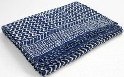 Kantha Bed Cover Zigzag Print
