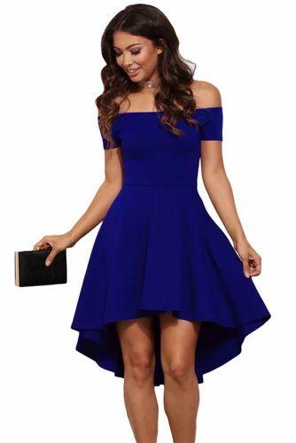 444903fd1132 Blue Plain Women Off The Shoulder Short Sleeve High Low Hem Club Cocktail Skater  Dress