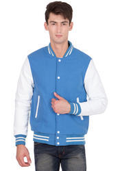 Sky Blue Wool Body With White Leather Sleeves Varsity Jacket