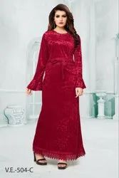 Full Sleeves Women Night Velvet Gown