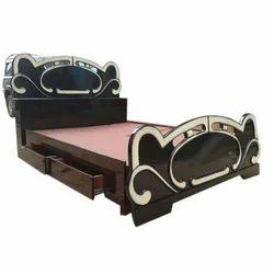 eng wood Brown Designer Bed, Base Support Assam Teak, Size: 5x6.5 Feet