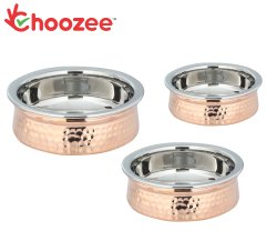 Choozee -Steel Copper Serving Handi Set of 3 Pcs (400ML, 600ML and 800Ml)