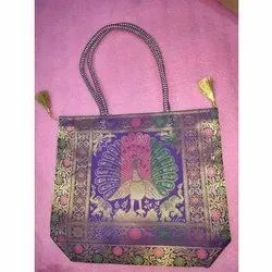 Handled Cotton Embroidered Silk Bag, Capacity: 2-3 Kg